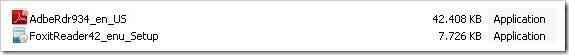ukuran installer foxit adobe reader